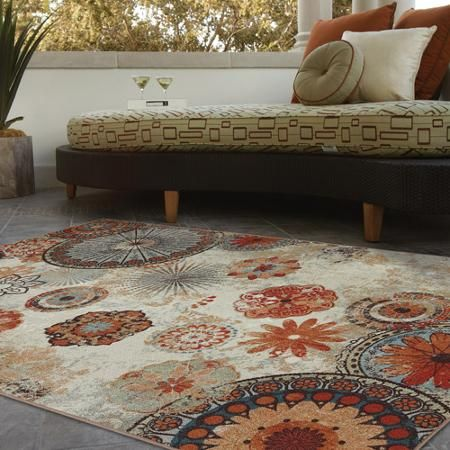 Mohawk Home Alexa Medallion Indoor/Outdoor Nylon Rug, Multi- Colored, $78 for a 5x8