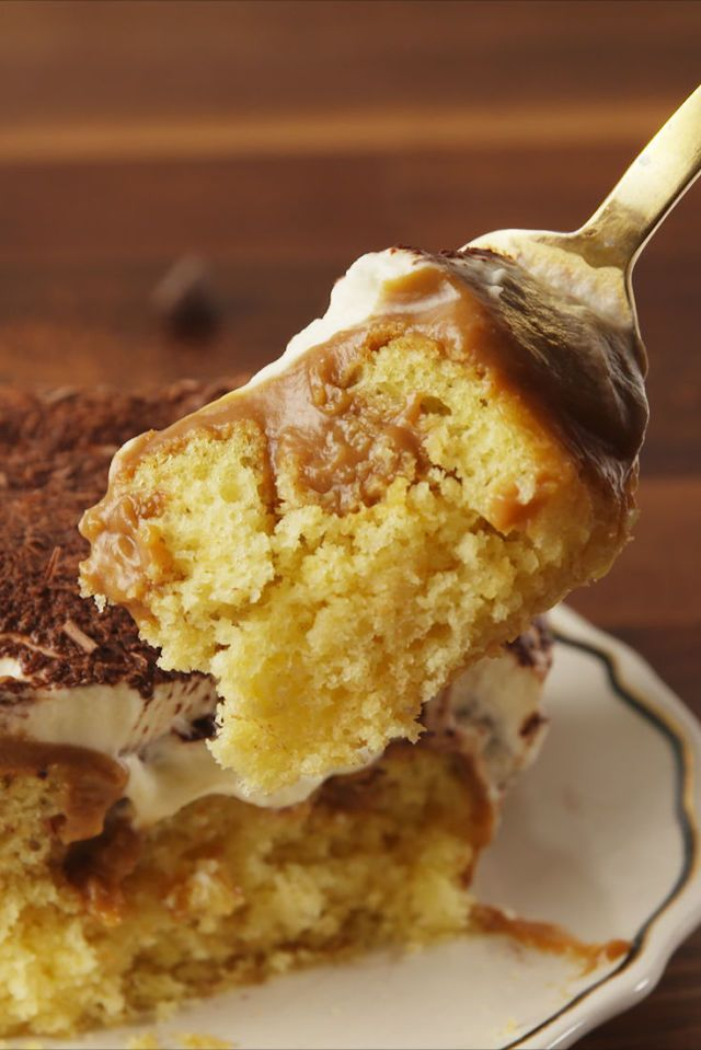Use 1/4 c Kahlua in place of 1/4 milk.  And on the cake.