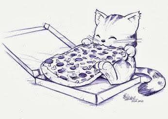 süße Katze mit Pizza gezeichnet