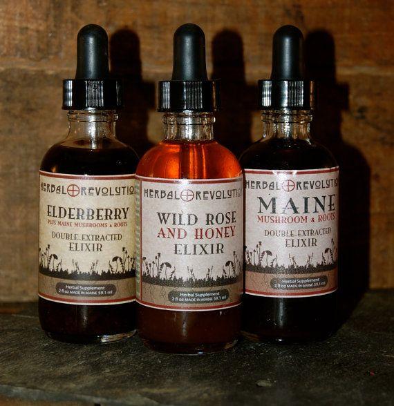 2oz Elixir Trio Gift Set by Herbal Revolution on Etsy, Includes 2 oz Elderberry Plus, 2 oz Maine Mushroom Elixir, 2 ox Wild Rose and Honey Elixir.