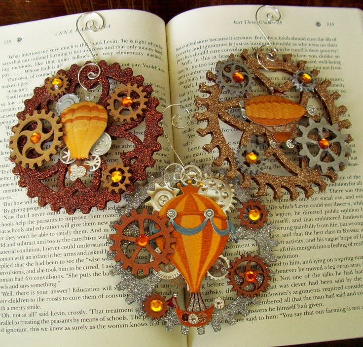 Steampunk Christmas Ornament (Xmas2012-4-4) - Air Balloons and Glittered Gears - 3 Piece Ornament Set