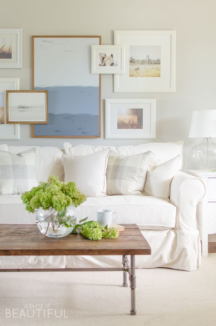 Why We Chose A White Slipcovered Sofa Living Rooms Wall