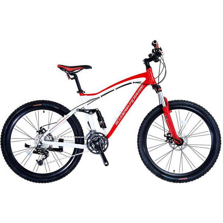 COMPRE AQUI - Bicicleta Mountain Bike Ferarri MTB Aluminio Full Suspension Aro 26 24 Marchas - Vermelha