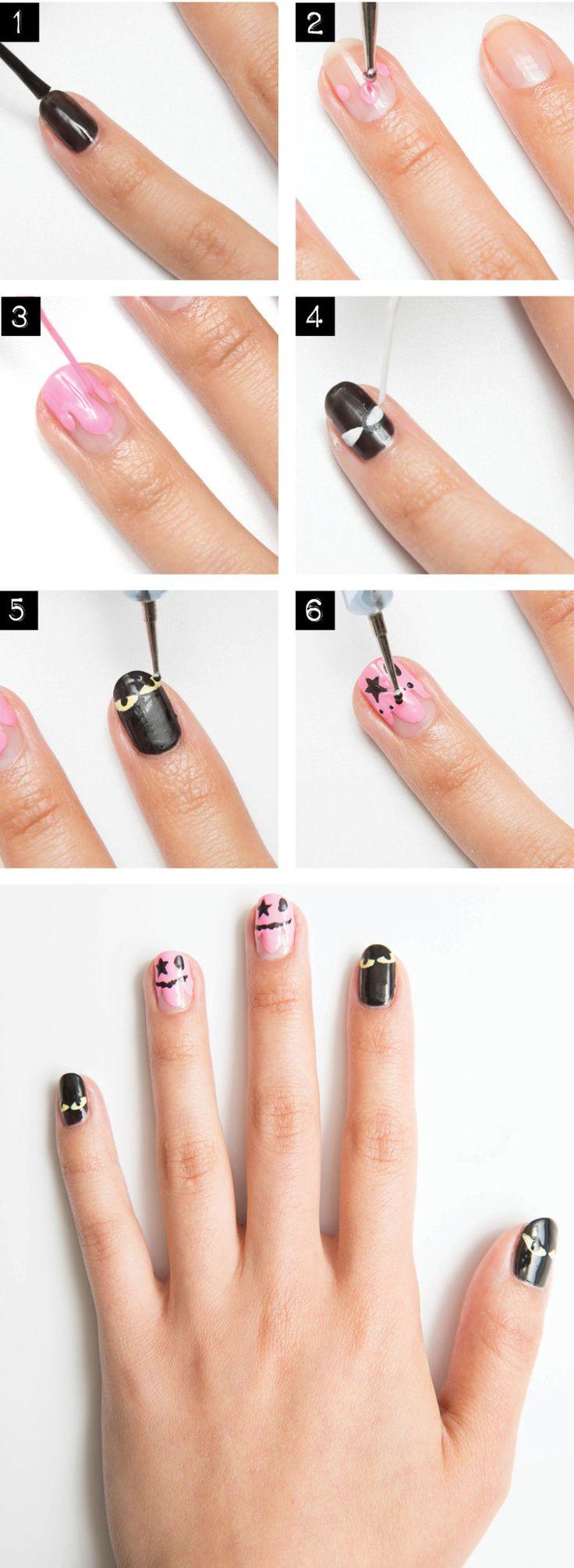 Halloween nail art unghie creature della notte
