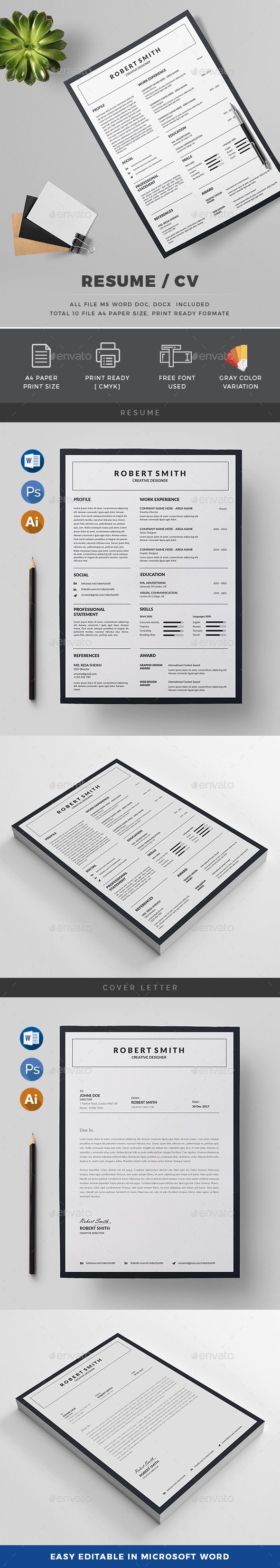 Resume Template PSD Vector EPS AI MS