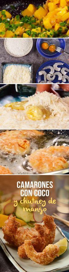 Acompañamos esto deliciosos camarones empanizados con coco con un chutney de mango que te va a fascinar