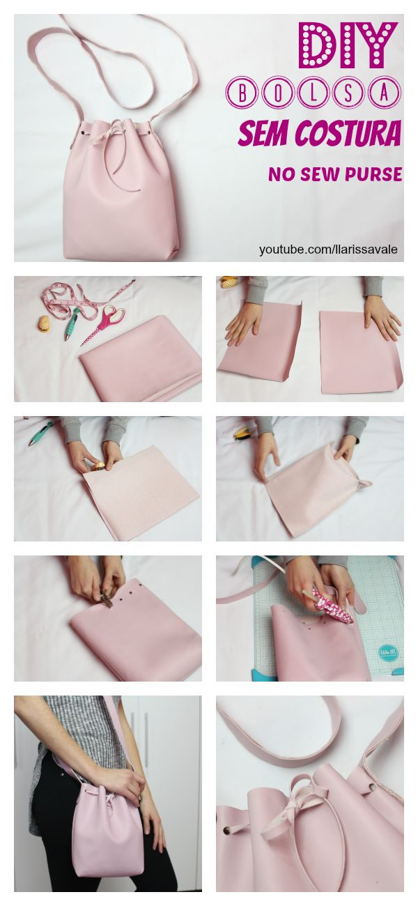 DIY Bolsa Saco Sem Costura DIY No Sew Bucked Bag  youtube.com/llarissavale