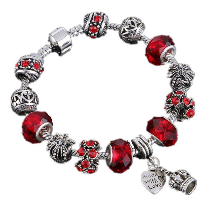 LIVVY 2016 Hot braccialetti di Fascino e braccialetti di fascino 925 Corona Pendente Sfera di Cristallo Braccialetto di Amicizia Lady Fashion Bracelet