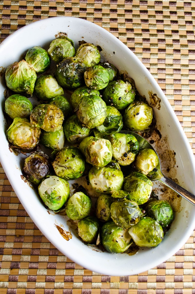 Oven roasted brussel sprouts - garlic olive oil, salt & pepper 400 for 30 minutes. Stir every 10 min