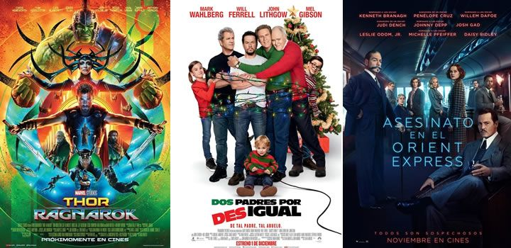 Thor 3, Dos padres por desigual y Asesinato en el Orient Express, Top 3 Taquilla Americana 10 - 12 Noviembre