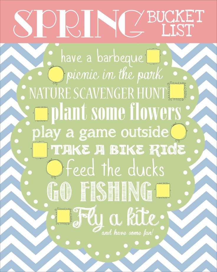 Spring Bucket List 2013 - super cute free printable by @nestforless