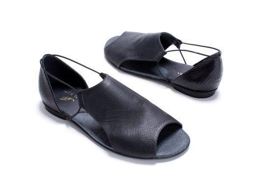 Diamond  Black Leather Sandals Shoes von MichalMiller