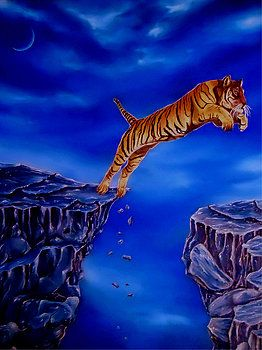 Imaginary Realism, Painting, fantasy, imagination, tiger, wild, animal, wildlife, jumping, rocks, night, mountains, scene, cliffs, over the gap, blue, art, artwork, fine art, oil painting