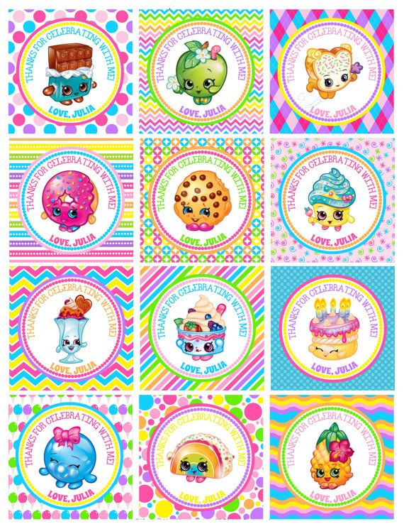 12 Personalized Shopkins hang tags. Hang tags are 2.5 squares and will be cut and mailed to you with an attached matching twine string.  See second