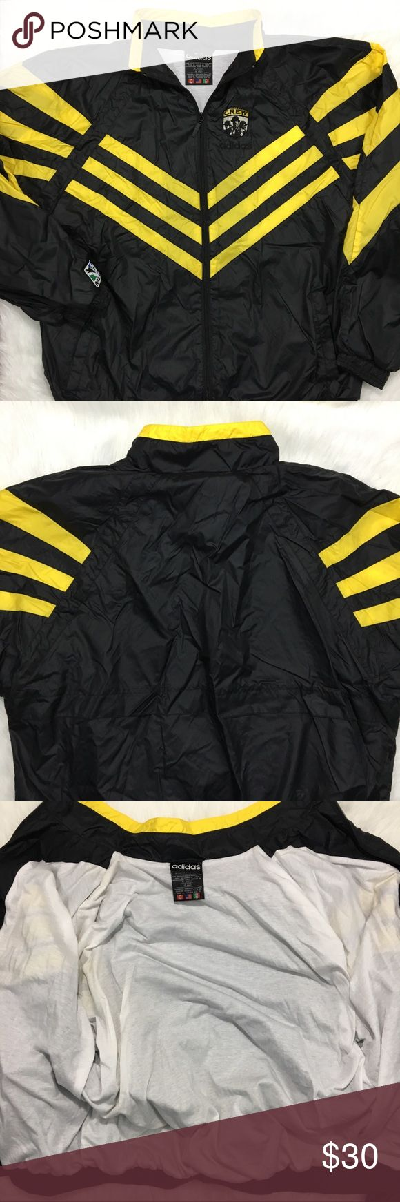 "Adidas The Crew MLS Jacket Black Yellow Pre-owned condition. Adidas The Crew MLS Jacket in a US Men's XL. Black/yellow color. In great condition. Please inspect all photos carefully. Thanks for viewing!  Measurements taken laying flat Pit to pit: 27"" Neck to bottom: 28"" Sleeve length: 23"" adidas Jackets & Coats Lightweight & Shirt Jackets"