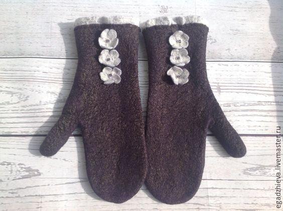 Купить Варежки валяные ежевика - черный, ежевика, ежевичный, варежки ручной…