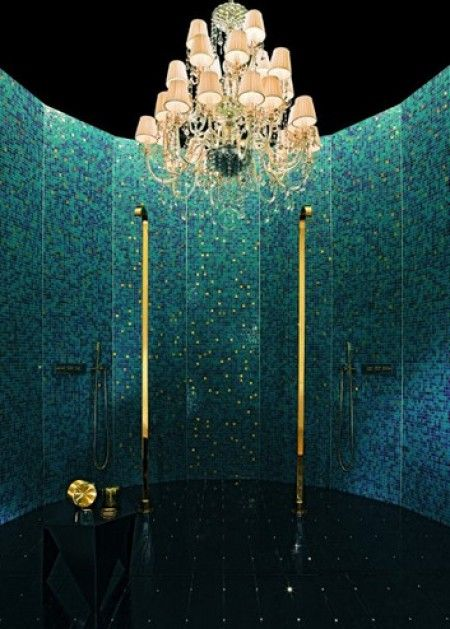 Preciously Me blog : Bisazza mosaics.  shower with chandelier