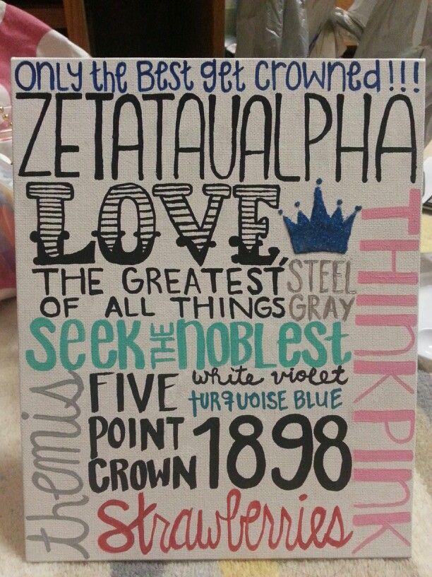 ZTA crafts (: Zeta Tau Alpha Canvas.   The Crown is glittered.
