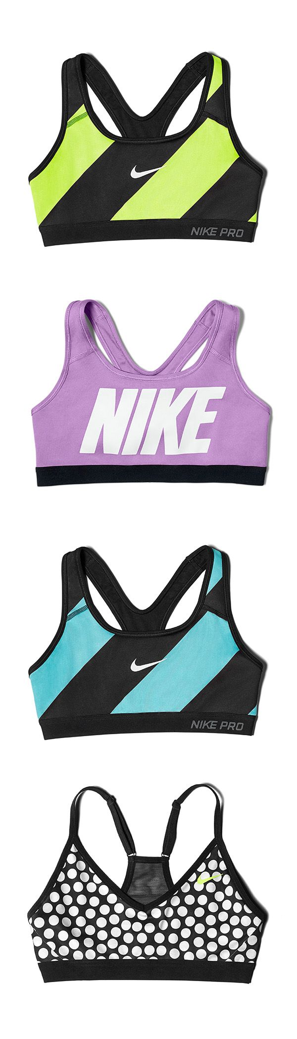 Style it bold with Nike Pro Bras. Mix and match all-new colors and patterns for a look that's all you.