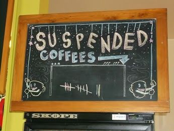 The Suspended Coffees are starting to take off as people donate them for others to use. We keep a tally on the board above the fridge - help us grow this great service