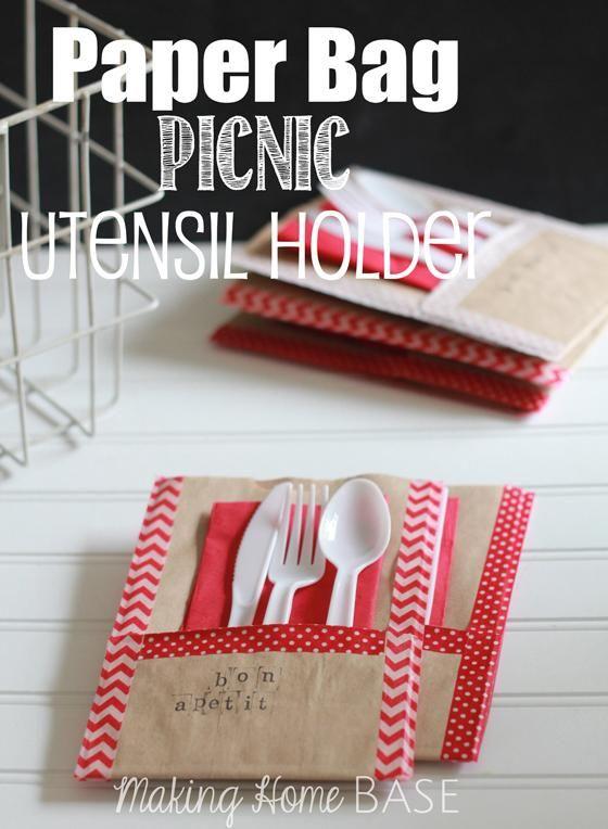 DIY Tutorial: Paper Crafts / DIY Washi Tape and Paper Bag Picnic Utensil Holder - Bead&Cord