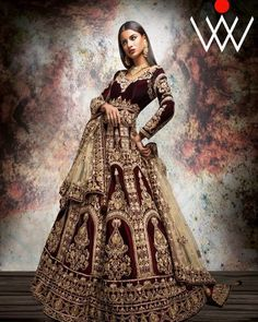 """38 Likes, 4 Comments - Bani's Wed In Vogue (@wedinvogue) on Instagram: """"Reign your #wedding day by feeling and looking like a Queen, in this rich wine hued lengha…"""""""