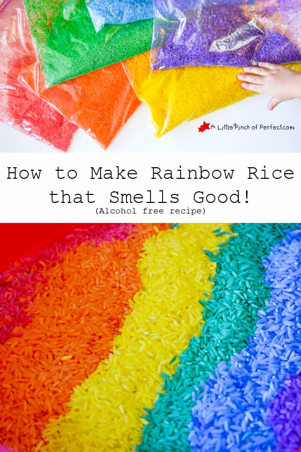 Sensory Play: How to Make Rainbow Rice that Smells Good! (Alcohol free recipe)-so easy and fun!