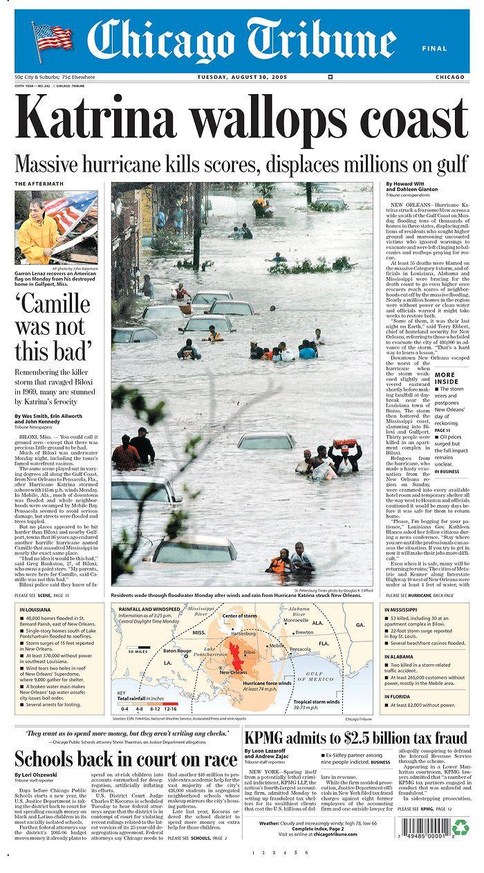 Katrina strikes the Gulf Coast, 2005.