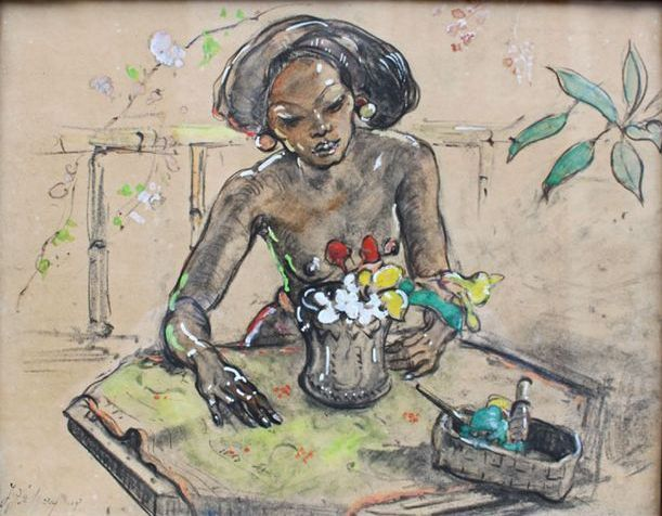 Adrien Jean Le Mayeur de Merprès - Ni Pollok sorteert bloemen