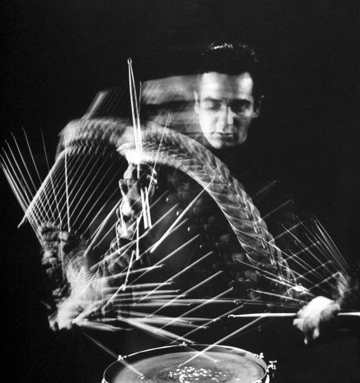 Drum pioneer, Gene Krupa - Jan 15, 1909 - 1973,   Photo: Gjon Mili, LIFE
