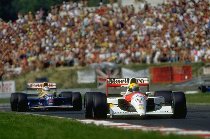 f1 1991 -  Ayrton Senna in the McLaren-Honda and Nigel Mansell in the Williams-Renault