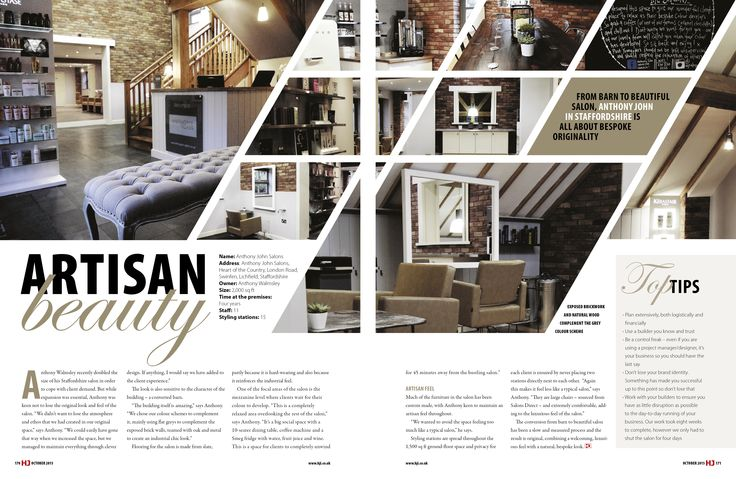From BARN to BEAUTIFUL! Hairdressers Journal International have featured us in their OCTOBER 2015 issue #Interiors