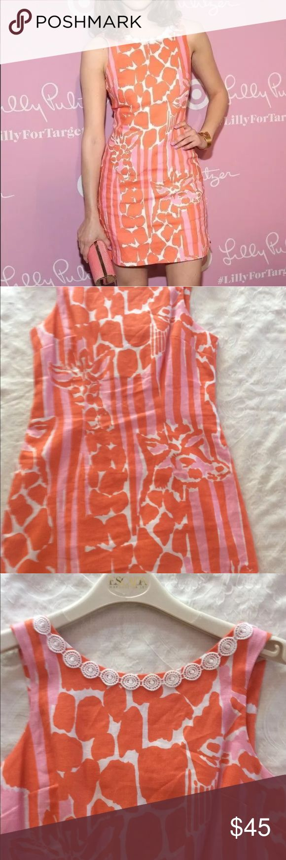 Sold Lilly Pulitzer target dress giraffe Giraffe shift dress size 6. You can dress up and dress down. It's a good brunch dress and good for a wedding. I've have been in a search of giraffe pants small. I would trade with someone who had these pants in small Lilly Pulitzer for Target Dresses
