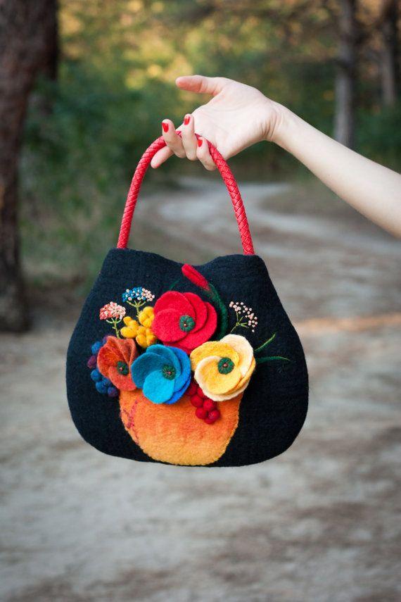 Felted Bag Handbag Purse Felt Nunofelt Nuno felt Silk by Feltsongs
