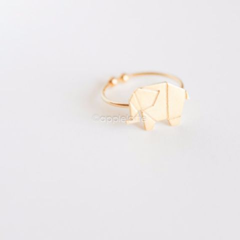paper elephant origami ring, gold elephant ring, silver elephant ring, adjustable size ring, elephant jewelry