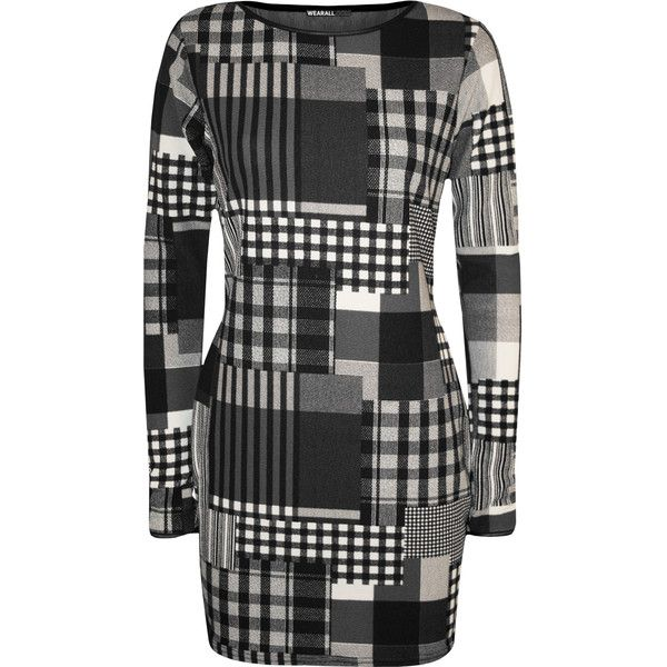 WearAll Check Print Long Sleeve Dress ($12) ❤ liked on Polyvore featuring dresses, grey, long sleeve bodycon dress, evening wear dresses, gray dresses, gray long sleeve dress and grey long sleeve dress