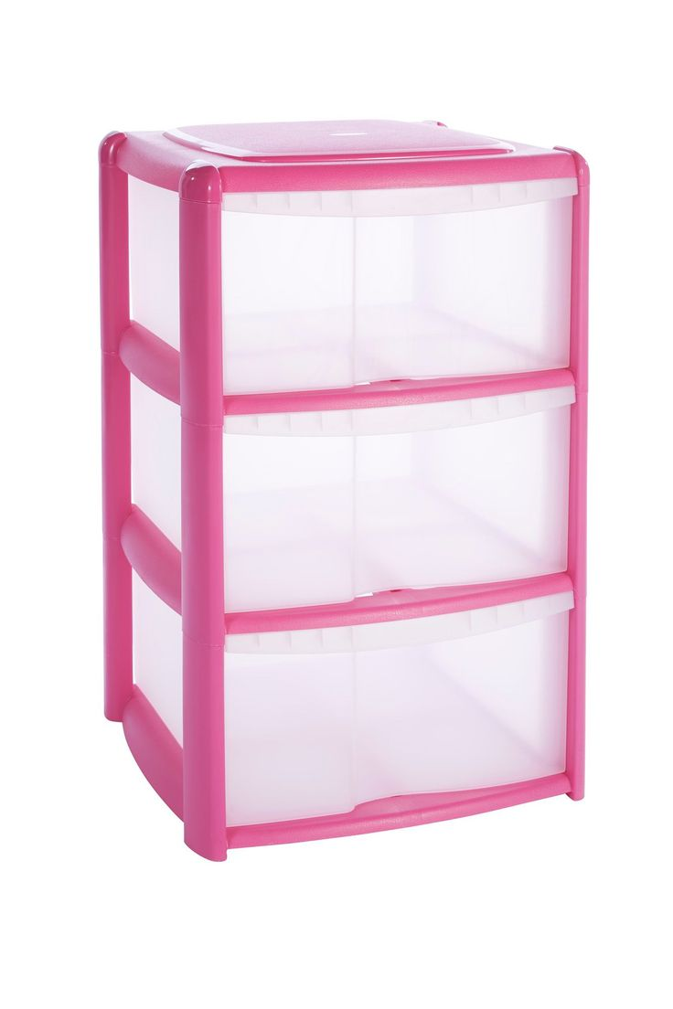 B&Q Pink Plastic 3 Drawer Tower Unit   Rooms   DIY at B&Q