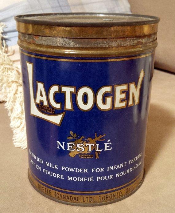 Vintage Nestle Lactogen milk powder tin circa 1950s Toronto