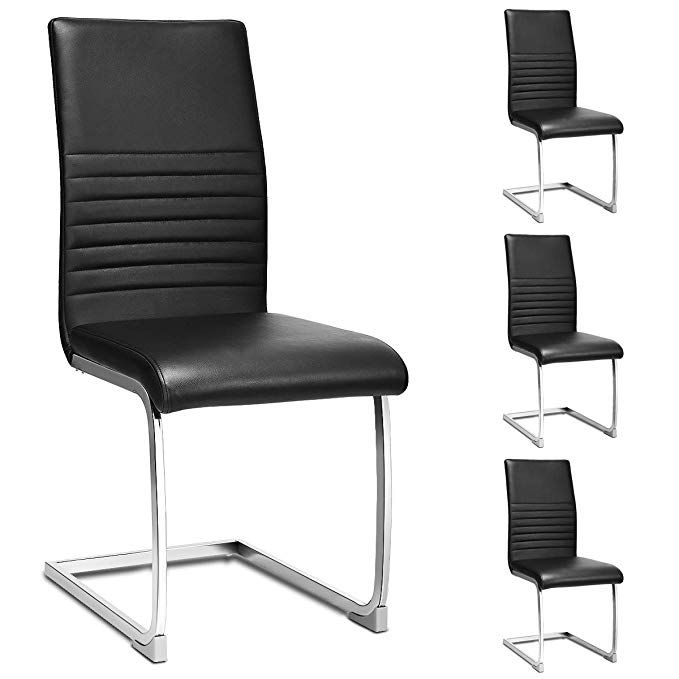 Giantex Set Of 4 Pu Chairs High Back Pu Leather With Solid Chrome