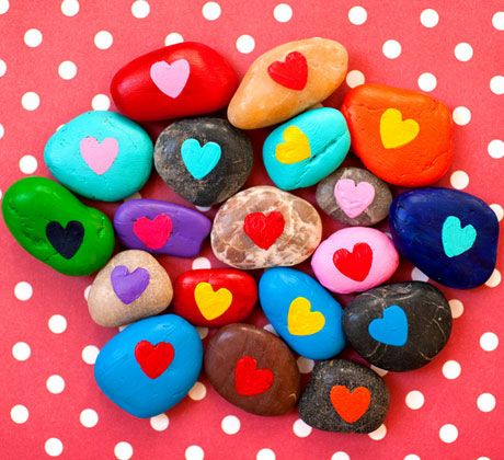 Click Pic for 30 Valentines Day Kids Crafts - Painted Rocks - DIY Valentines Crafts