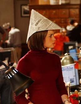 Activity: newspaper hats. A unique (and very Gilmore) party hat.