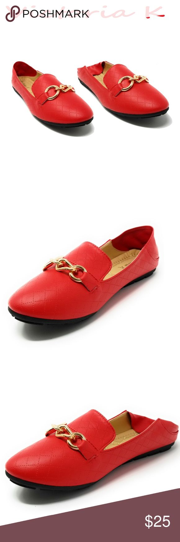 """Women Ballerina Flats / Mules, BS-2626, Red Brand new super popular stitched woman slippers that can be worn as mules with the back down. Extra soft insoles. Textured rubber outer sole for traction. Cute horse bit buckle. 100% man made PU vegan leather. Measurements: sizes 6 through 8 are true to size. Sizes 8.5 - 11 run small. Standard 3 inch width. Size 8 measures 9.5 inches, sz 8.5 = 9 3/4"""", sz 9 = 10"""", sz 10 = 10.5"""", size 11 fits a true size 9.5 wearer. Slip on these loafers and make a…"""
