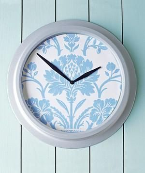 Wallpaper as Clock Customizer (click through for easy DIY instructions): Double Duty Decorating, Decorating Ideas, Dress, Clock Face, Clock Customizer, Wallpapers, Craft Ideas, Diy