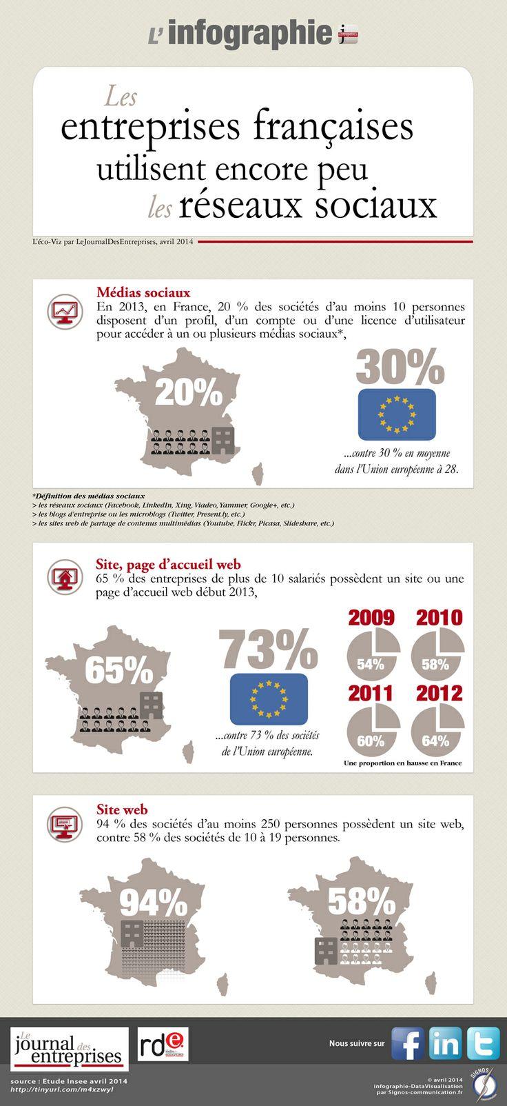 """Infographie pour """"le Journal des Entreprises"""" - avril 2014.  http://www.lejournaldesentreprises.com/national/l-eco-en-chiffres-les-entreprises-francaises-utilisent-encore-peu-les-reseaux-sociaux-29-04-2014-222481.php  © signos communication"""