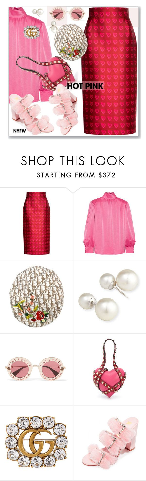 """""""Pink"""" by nantucketteabook ❤ liked on Polyvore featuring Gucci, Christian Dior, Yoko London, Valentino, Kalda, contestentry and NYFWHotPink"""