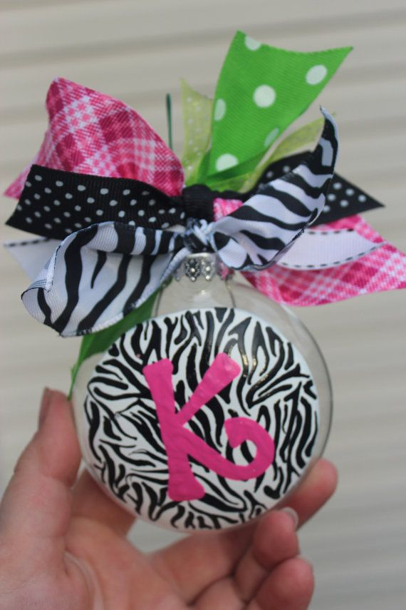 Zebra print monogram ornament
