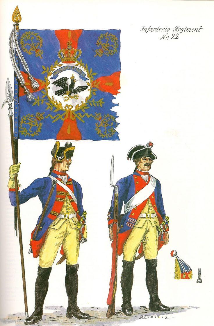 Prussia; Infantry Regiment Nr.22, c.1750 by G.Donn