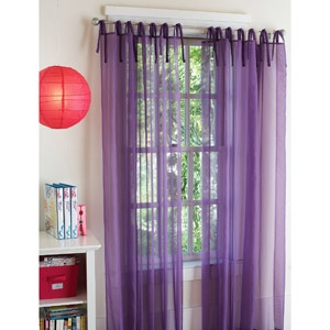purple curtains, with crimson sheer curtains would be beautiful.