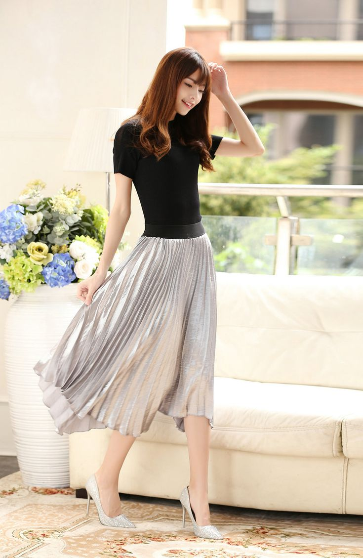Fashionable Glossy and Shining Pleated Skirt Free Size Pink/Grey/Black //Price: $45.50 & FREE Shipping //     #hashtag3