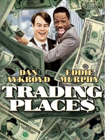 Trading Places (1983) starring Eddie Murphy, Dan Aykroyd & Jamie Lee Curtis. Eddie Murphy's second movie and one of his best as a street hustler hustled by two rich Wall Street commodities brokers betting  one dollar that they can reverse anyone's fortune with the advantages of  priveliges over heredity...Great holiday comedy that stands the test of time.